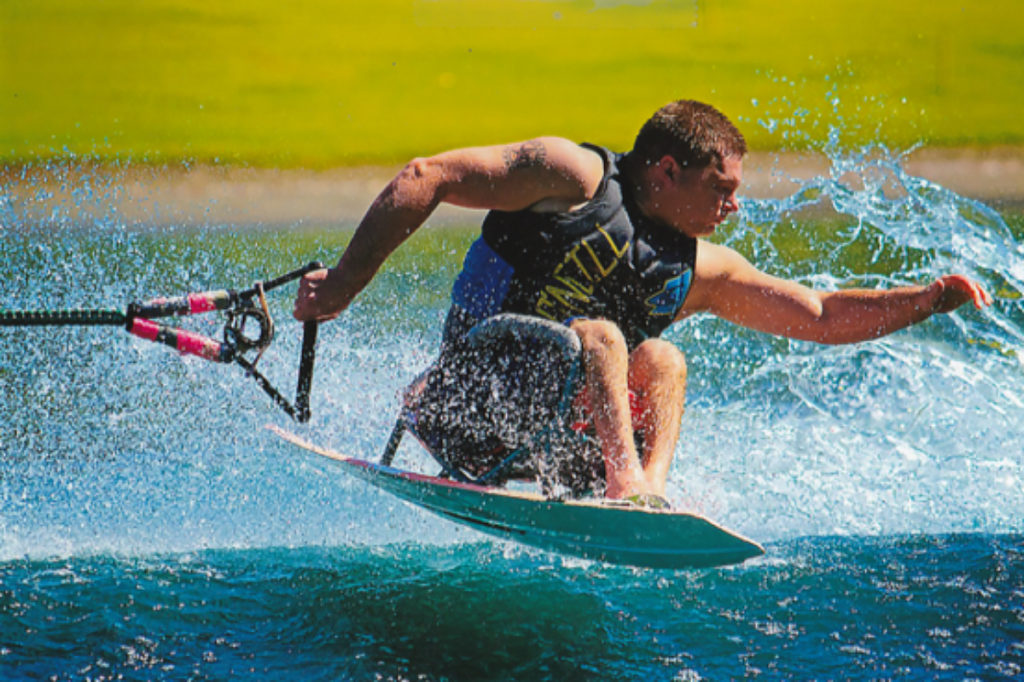 Mark Turner, trick skiing at the 2015 World Disabled Water Ski Championships, Sacramento, California